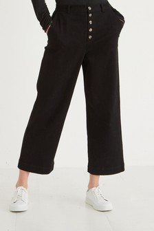 Oliver Bonas Button Front Black Straight Leg Trousers