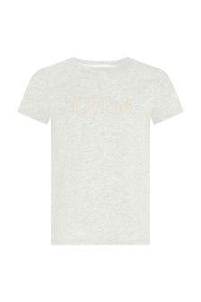 Chloe Kids Girls Grey Cotton T-Shirt