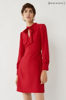 Warehouse Red Pussy Bow Dress