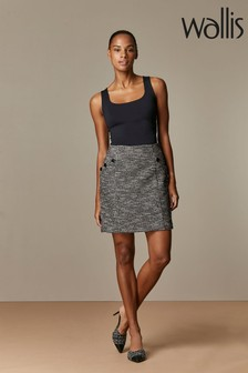 Wallis Black Mono Jacquard Skirt