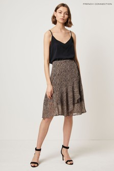French Connection Brown Animal Wrap Skirt