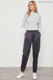 Mint Velvet Grey Graphite Satin Cargo Trousers
