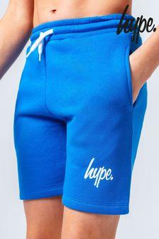 Hype. Blue/White Mini Script Print Jogger Shorts