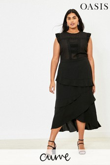 Oasis Black Curve Lace Midi Dress