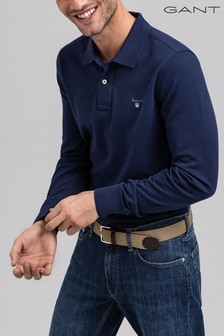 GANT Original Blue Long Sleeved Polo Shirt