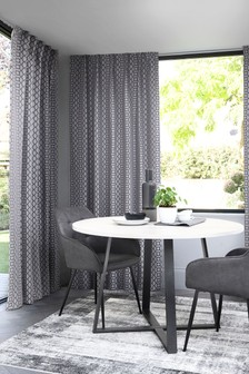 Woven Geo Wave Header Curtains