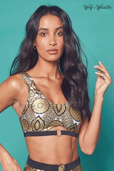 Wolf & Whistle Gold Foil Tile Crop Top