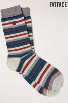 FatFace Natural Stripe Boot Socks