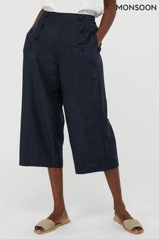 Monsoon Blue Eureka Linen Blend Crop Trousers