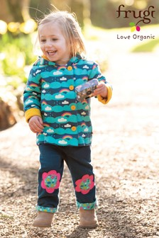 Frugi Organic Navy Cord Lined Trousers With Flower Appliqué