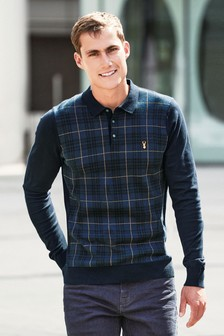 Checked Knitted Polo