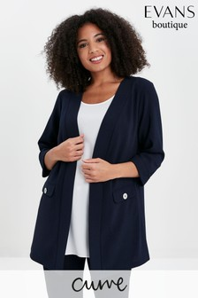 Evans Curve Navy Button Detail Jacket