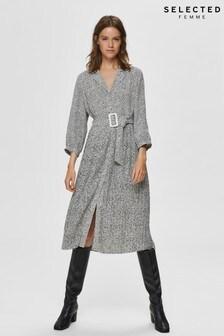 Selected Femme Beige Ditsy Print Midi Shirt Dress
