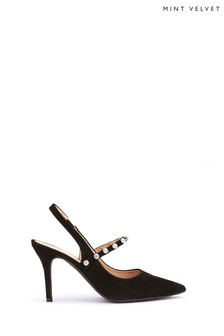 Mint Velvet  Black Selina Gem Slingback Shoes