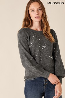 Monsoon Pearl Heart Detail Knitted Jumper