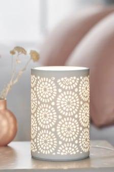 White Geo Pierced Table Lamp