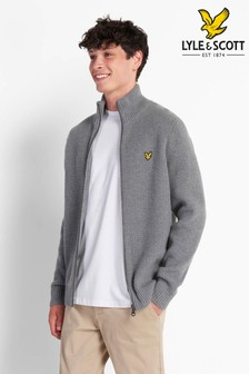 Lyle & Scott Mid Grey Marl Knitted Rib Zip Through Cardigan