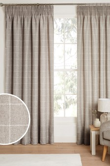 Natural Windowpane Check Pencil Pleat Lined Curtains