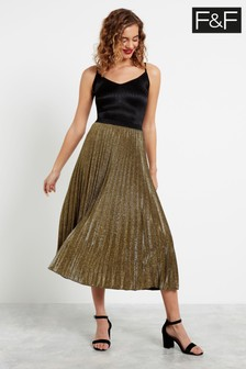 F&F Gold Glitter Pleated Skirt