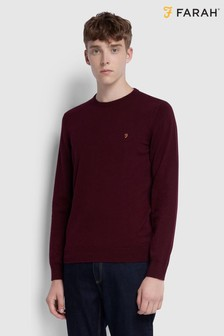 Farah Red Mullen Cotton Crew Neck Jumper
