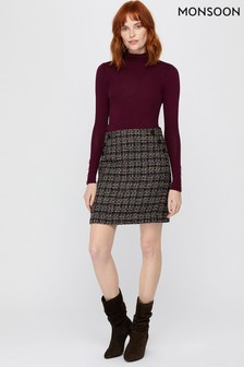 Monsoon Purple Felissa Check Skirt