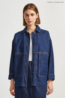 French Connection Blue Jule Contrast Stitch Utilty Jacket