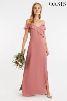 Różowa satynowa sukienka maxi z falbanką Oasis*