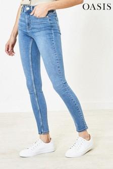 Синие джинсы скинни с высокой талией Oasis Lily