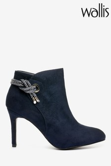 Wallis Ariel Navy Eyelet And Sparkle Formal Boots