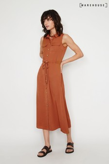 Warehouse Brown Textured Midi Shirt Dress