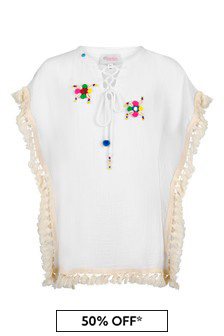 Selini Action Girls White Cotton Kaftan