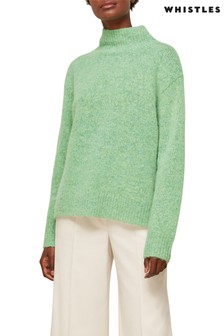 Whistles Pale Green Erica Flecked Funnel Neck Wool Mix Knit Jumper
