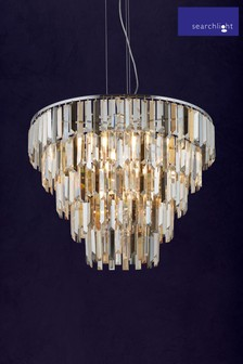 Searchlight Metal Cluster 9 Light Pendant With Crystal Drops