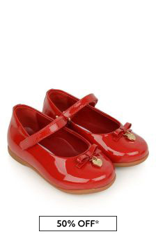 Dolce & Gabbana Kids Girls Red Patent Leather Shoes