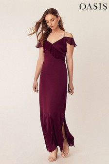 Oasis Red Ruffle Satin Maxi Dress*