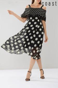 Coast Black Cheryl Spot Midi Dress