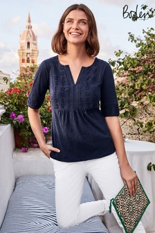 Boden Blue Margot Broderie Jersey Top