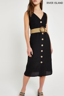 River Island Black Linen Casual Midi Dress