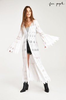 Free People White Lace Cover Up Duster Jacket