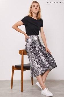 Mint Velvet Leopard River Print Slip Skirt