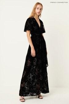 French Connection Black Hanna Velvet Maxi Dress
