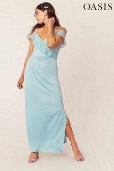 Oasis Green Ruffle Satin Maxi Dress