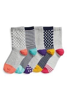 Socken mit Punkte- und Streifenmuster, Fünferpack