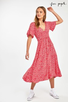 Free People Red In Full Bloom Floral Midi Dress