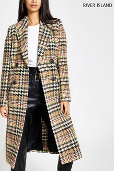 River Island Fluro Check City Coat
