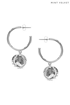 Mint Velvet Silver Tone Drop Disc Hoop Earrings