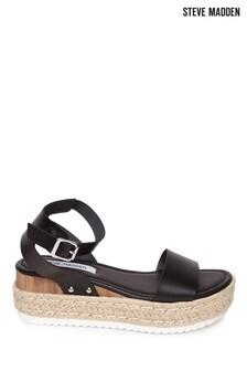 Steve Madden Black Espadrille Platform Sandals