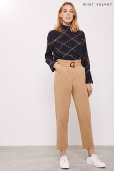 Mint Velvet Camel Belted Trousers