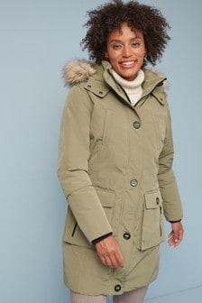 Куртка-парка из высокотехнологичной ткани с искусственным мехом на капюшоне