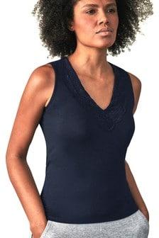 Pure Collection Blue Lace Jersey V Neck Vest